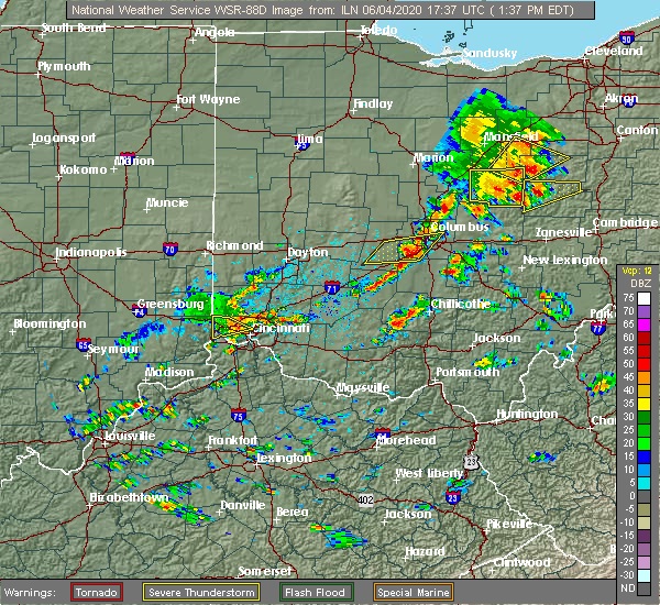Radar Image for Severe Thunderstorms near Cleves, OH at 6/4/2020 1:43 PM EDT