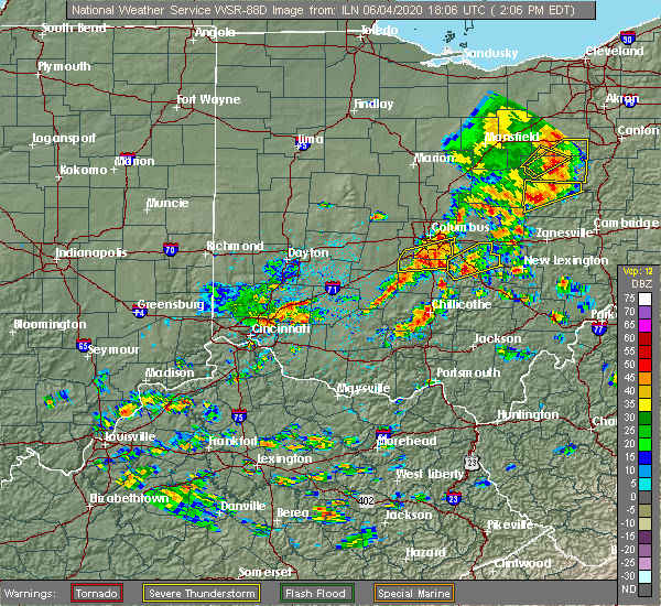 Radar Image for Severe Thunderstorms near Pleasantville, OH at 6/4/2020 2:09 PM EDT