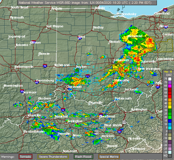 Radar Image for Severe Thunderstorms near Pickerington, OH at 6/4/2020 2:23 PM EDT