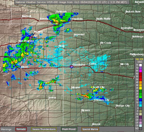 Radar Image for Severe Thunderstorms near Otis, CO at 6/4/2020 3:32 PM MDT