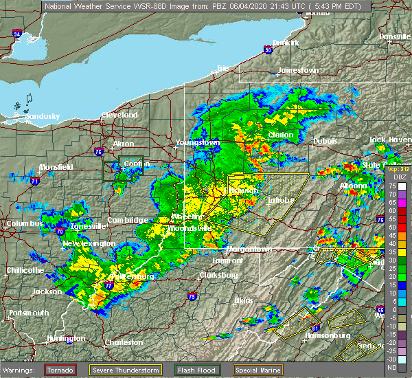 Radar Image for Severe Thunderstorms near Sutersville, PA at 6/4/2020 5:51 PM EDT