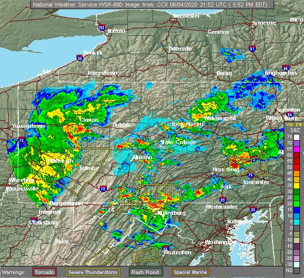Radar Image for Severe Thunderstorms near Fredericksburg, PA at 6/4/2020 5:55 PM EDT