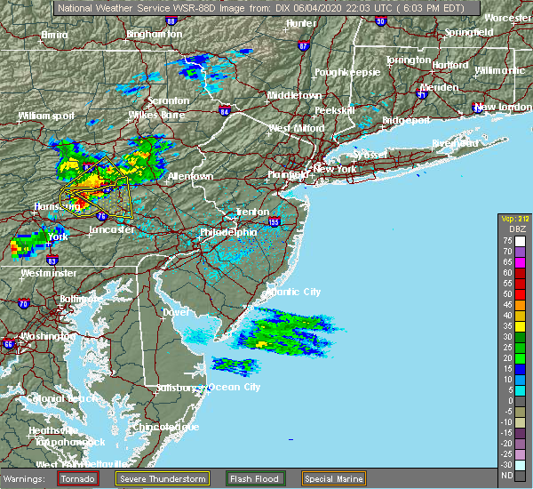 Radar Image for Severe Thunderstorms near Rehrersburg, PA at 6/4/2020 6:04 PM EDT