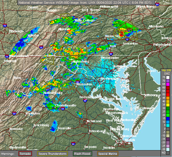 Radar Image for Severe Thunderstorms near Pinesburg, MD at 6/4/2020 6:08 PM EDT