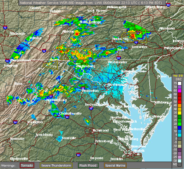 Radar Image for Severe Thunderstorms near Orrstown, PA at 6/4/2020 6:23 PM EDT