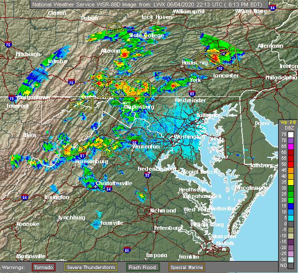 Radar Image for Severe Thunderstorms near Basye, VA at 6/4/2020 6:24 PM EDT