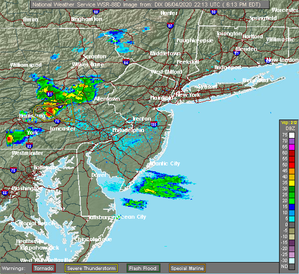 Radar Image for Severe Thunderstorms near Rehrersburg, PA at 6/4/2020 6:27 PM EDT