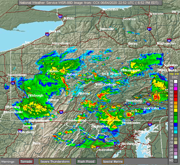 Radar Image for Severe Thunderstorms near Longfellow, PA at 6/4/2020 6:58 PM EDT