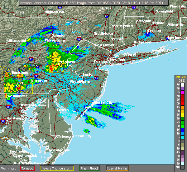 Radar Image for Severe Thunderstorms near Bechtelsville, PA at 6/4/2020 7:21 PM EDT