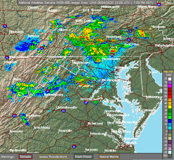 Radar Image for Severe Thunderstorms near South Riding, VA at 6/4/2020 7:22 PM EDT