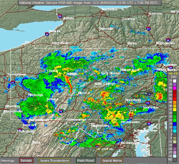 Radar Image for Severe Thunderstorms near Dauphin, PA at 6/4/2020 7:23 PM EDT