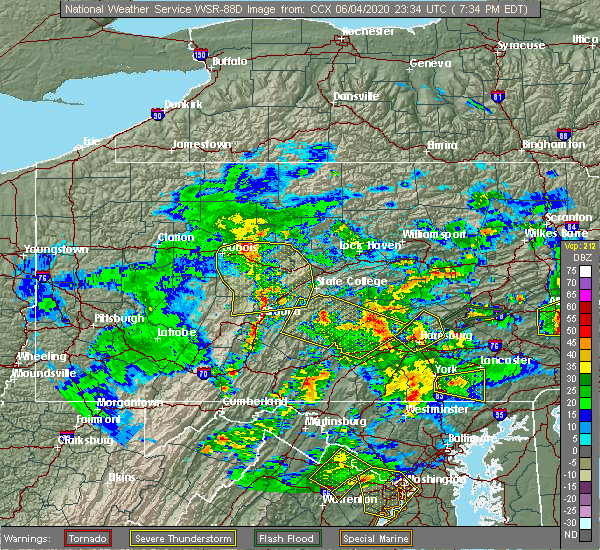 Radar Image for Severe Thunderstorms near Longfellow, PA at 6/4/2020 7:37 PM EDT