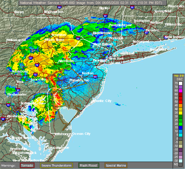 Radar Image for Severe Thunderstorms near Yardley, PA at 6/4/2020 10:34 PM EDT