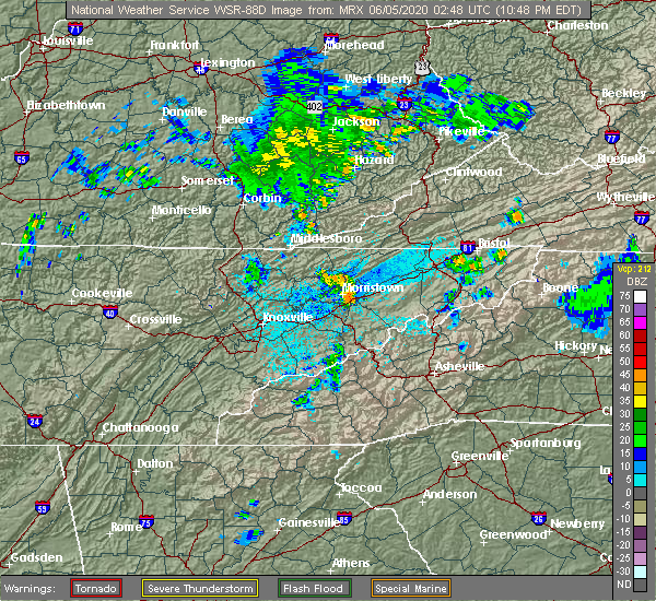 Radar Image for Severe Thunderstorms near Morristown, TN at 6/4/2020 10:53 PM EDT
