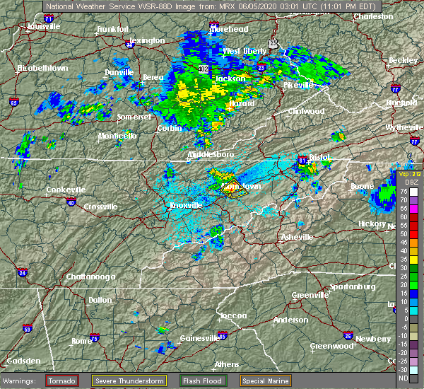 Radar Image for Severe Thunderstorms near Morristown, TN at 6/4/2020 11:09 PM EDT
