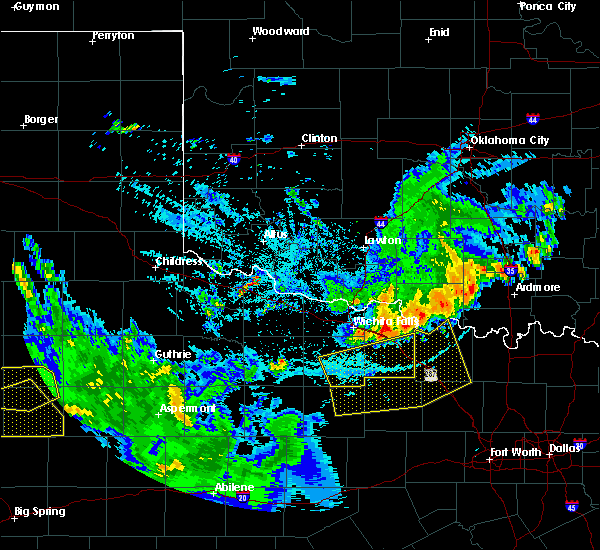 Radar Image for Severe Thunderstorms near Archer City, TX at 6/4/2020 10:28 PM CDT