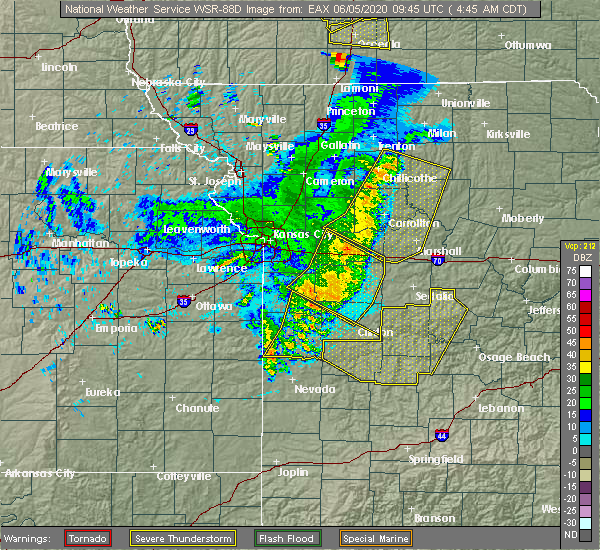 Radar Image for Severe Thunderstorms near Clinton, MO at 6/5/2020 4:51 AM CDT