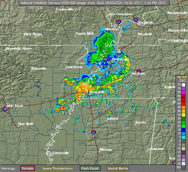 Radar Image for Severe Thunderstorms near Collierville, TN at 6/5/2020 1:30 PM CDT