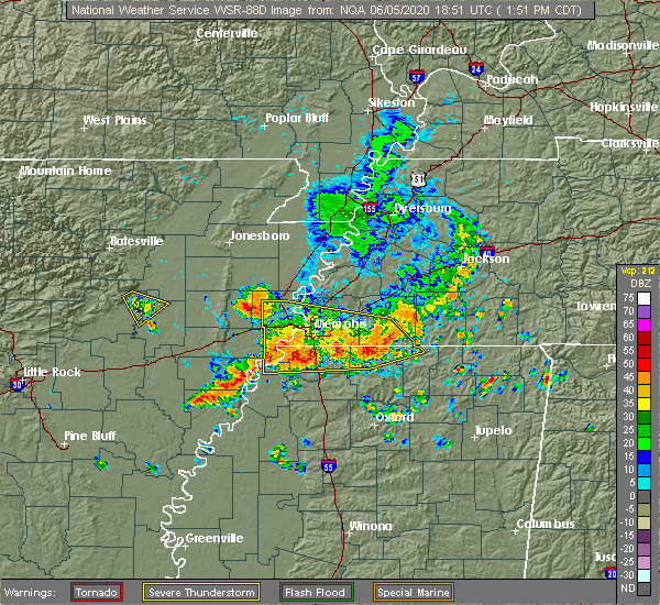 Radar Image for Severe Thunderstorms near Senatobia, MS at 6/5/2020 1:57 PM CDT
