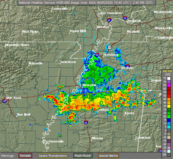 Radar Image for Severe Thunderstorms near Senatobia, MS at 6/5/2020 2:50 PM CDT