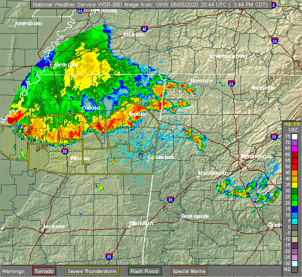 Radar Image for Severe Thunderstorms near Water Valley, MS at 6/5/2020 3:49 PM CDT