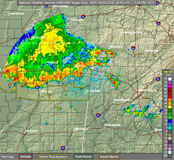Radar Image for Severe Thunderstorms near Muscle Shoals, AL at 6/5/2020 4:06 PM CDT