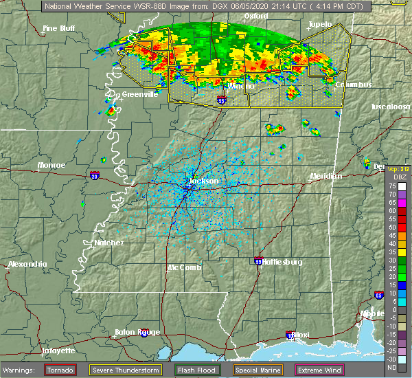 Radar Image for Severe Thunderstorms near Carrollton, MS at 6/5/2020 4:24 PM CDT