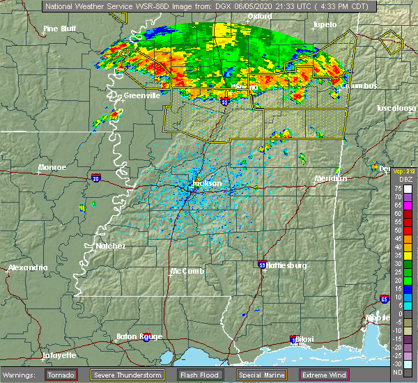 Radar Image for Severe Thunderstorms near Shaw, MS at 6/5/2020 4:37 PM CDT