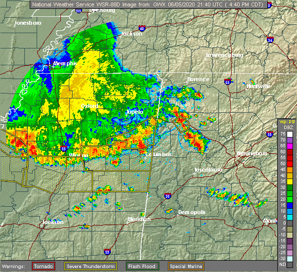Radar Image for Severe Thunderstorms near Aberdeen, MS at 6/5/2020 4:41 PM CDT