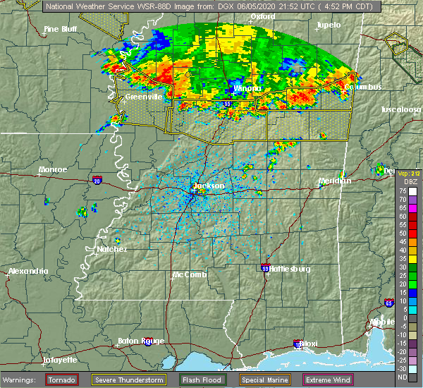 Radar Image for Severe Thunderstorms near Shaw, MS at 6/5/2020 5:02 PM CDT