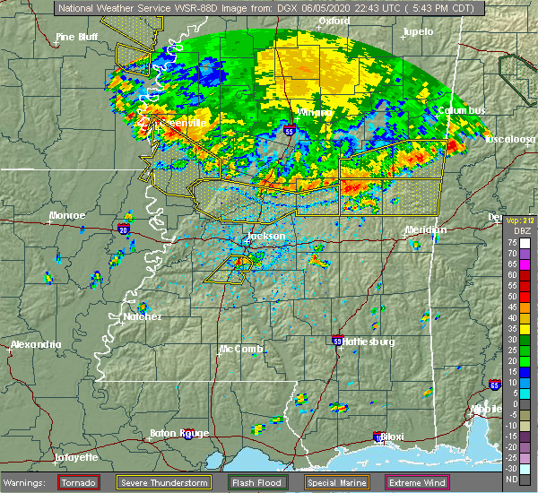 Radar Image for Severe Thunderstorms near Crystal Springs, MS at 6/5/2020 5:47 PM CDT