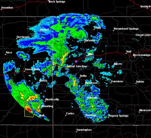 Radar Image for Severe Thunderstorms near Blanding, UT at 6/6/2020 9:42 AM MDT