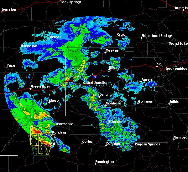 Radar Image for Severe Thunderstorms near Blanding, UT at 6/6/2020 9:55 AM MDT