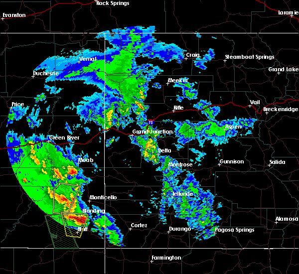 Radar Image for Severe Thunderstorms near Blanding, UT at 6/6/2020 10:07 AM MDT