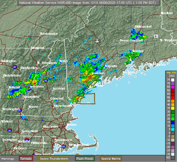 Radar Image for Severe Thunderstorms near Gray, ME at 6/6/2020 1:13 PM EDT