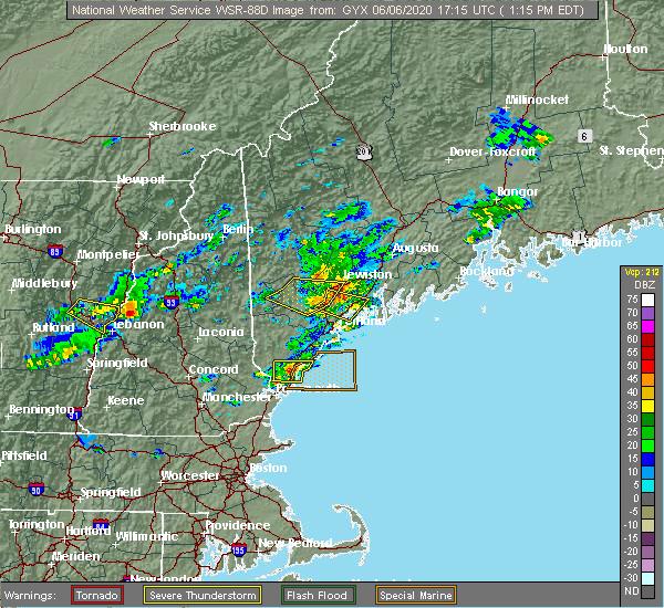 Radar Image for Severe Thunderstorms near Freeport, ME at 6/6/2020 1:18 PM EDT