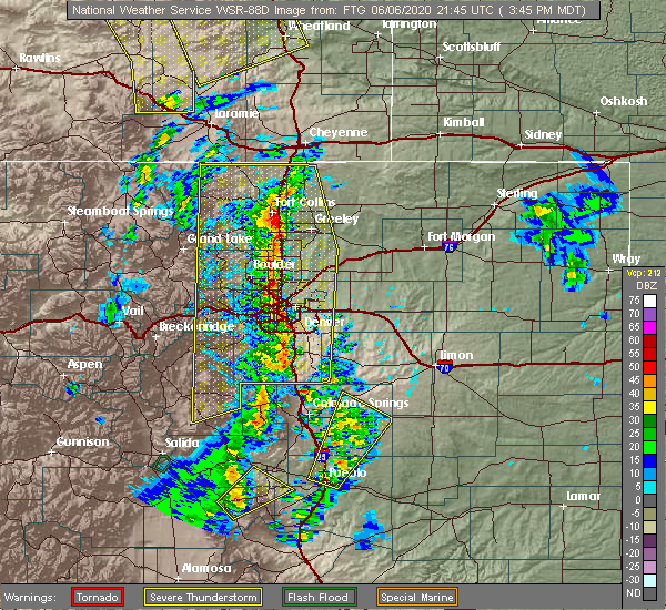 Radar Image for Severe Thunderstorms near Greenwood Village, CO at 6/6/2020 3:49 PM MDT