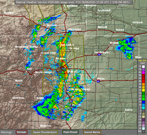 Radar Image for Severe Thunderstorms near Kiowa, CO at 6/6/2020 3:59 PM MDT