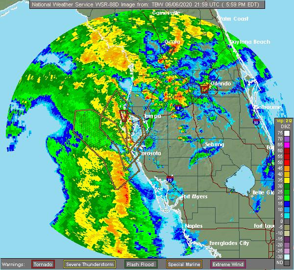 Radar Image for Severe Thunderstorms near Lake Panasoffkee, FL at 6/6/2020 6:07 PM EDT