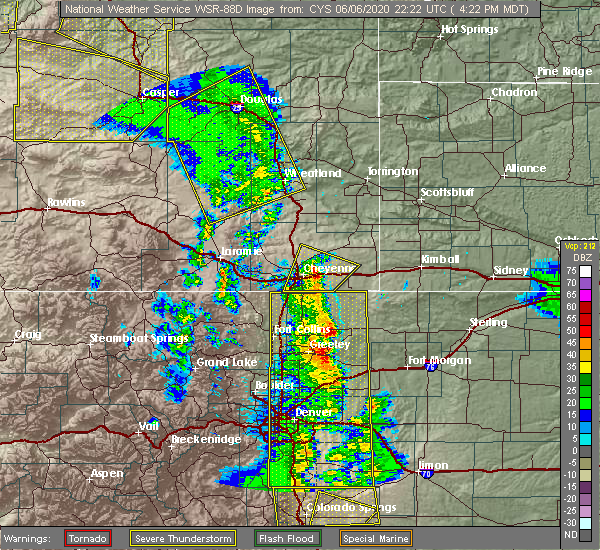 Radar Image for Severe Thunderstorms near Pine Bluffs, WY at 6/6/2020 4:26 PM MDT