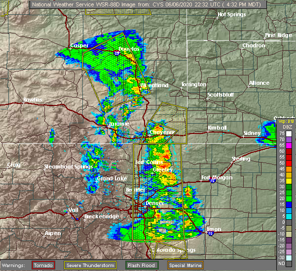 Radar Image for Severe Thunderstorms near Wheatland, WY at 6/6/2020 4:36 PM MDT