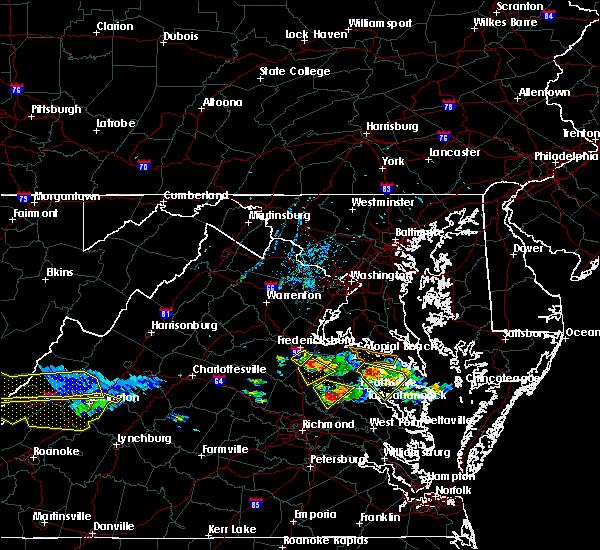 Radar Image for Severe Thunderstorms near Fredericksburg, VA at 6/6/2020 8:13 PM EDT