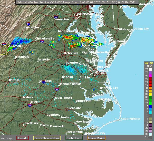 Radar Image for Severe Thunderstorms near Central Garage, VA at 6/6/2020 8:20 PM EDT