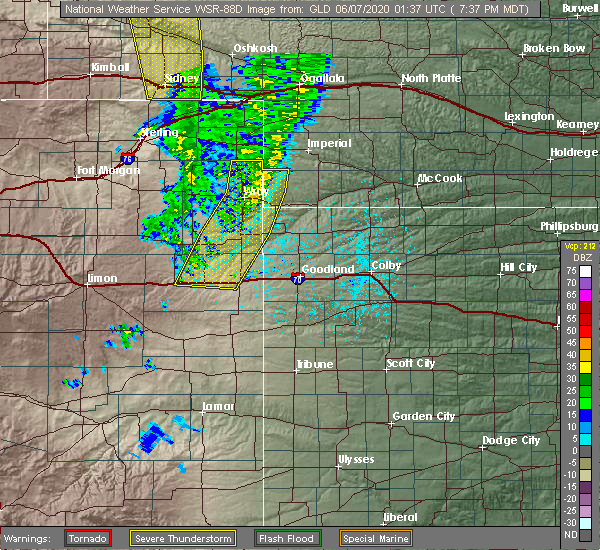 Radar Image for Severe Thunderstorms near Vona, CO at 6/6/2020 7:42 PM MDT