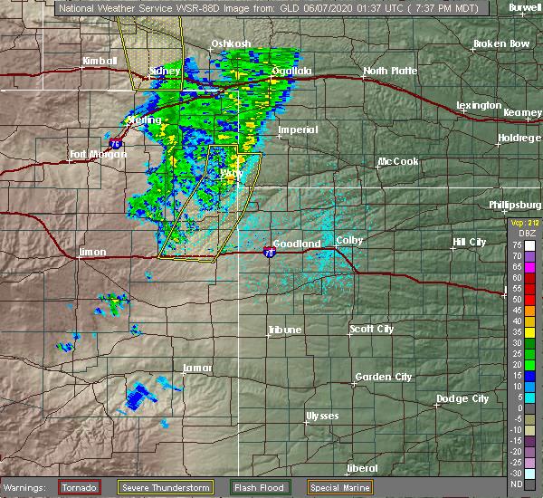 Radar Image for Severe Thunderstorms near Bethune, CO at 6/6/2020 7:42 PM MDT