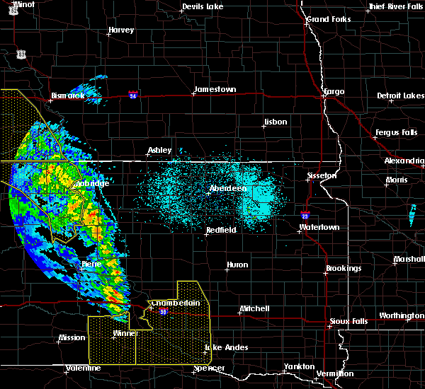 Radar Image for Severe Thunderstorms near Wessington, SD at 6/6/2020 10:50 PM CDT