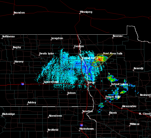 Radar Image for Severe Thunderstorms near Thief River Falls, MN at 6/7/2020 3:27 PM CDT