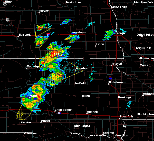 Radar Image for Severe Thunderstorms near Ashley, ND at 6/7/2020 6:58 PM CDT