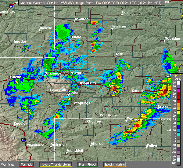 Radar Image for Severe Thunderstorms near Cottonwood, SD at 6/7/2020 6:33 PM MDT