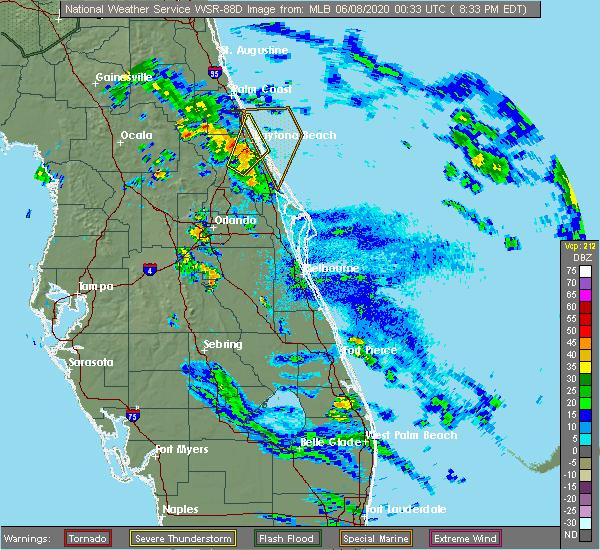 Radar Image for Severe Thunderstorms near Port Orange, FL at 6/7/2020 8:37 PM EDT